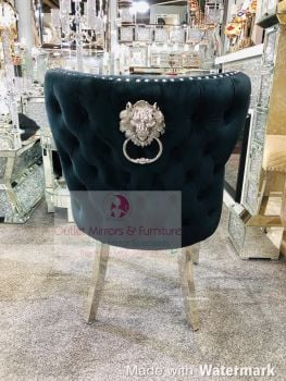 Lion Knocker Back Dining Chair Quilted Stitch seat and Buttoned Back Design in Black with Chrome Leg