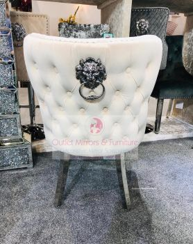 Lion Knocker Back Dining Chair Quilted Stitch seat and Buttoned Back Design in Cream with Chrome Leg