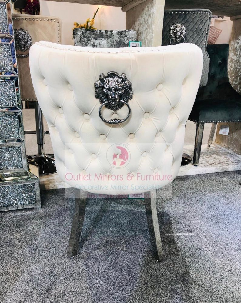 Lion Knocker Back Dining Chair Quilted Stitch seat and Buttoned Back Design