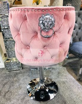 Valentino Lion Knocker Back Stool Quilted Stitch seat and Buttoned Back Design in Pink with Chrome Leg