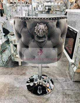 Lion Knocker Back Stool Quilted Stitch seat and Buttoned Back Design in Grey with Chrome Leg