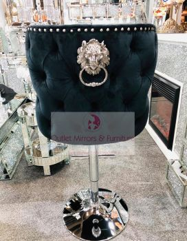 Lion Knocker Stool Chair Quilted Stitch seat and Buttoned Back Design in Black with Chrome Leg