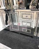 * Diamond Crush Sparkle Pillar Mirrored Sideboard 2 Door 3 draw In Stock
