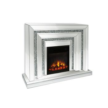 * Diamond crush sparkle Mirrored Fire Surround with electric fire with free delivery
