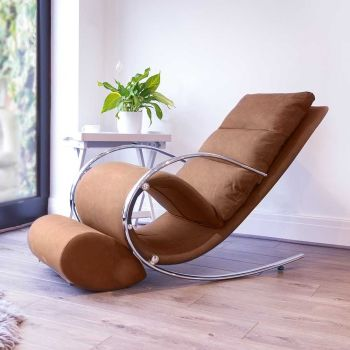 Space Rocker Chair with stool in Faux Tan