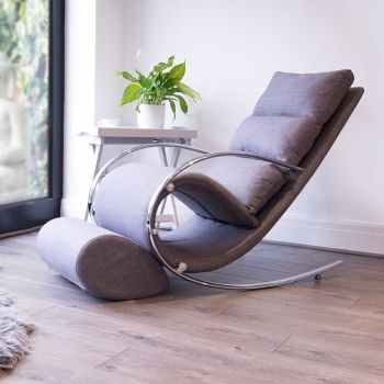 Space Rocker Chair with stool in Grey Fabric
