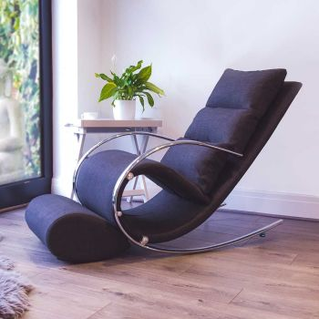 Space Rocker Chair with stool in Black Fabric