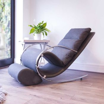 Space Rocker Chair with stool in Faux Grey