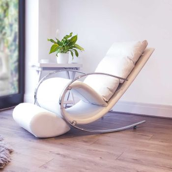 Space Rocker Chair with stool in Faux White colour