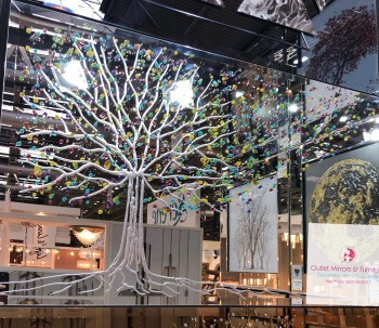 Glitter Fruit Tree in Silver on a Silver Bevelled Mirror 100cm x 60cm