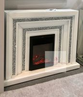 *Diamond crush sparkle Levels Mirrored Fire Surround with electric fire in white