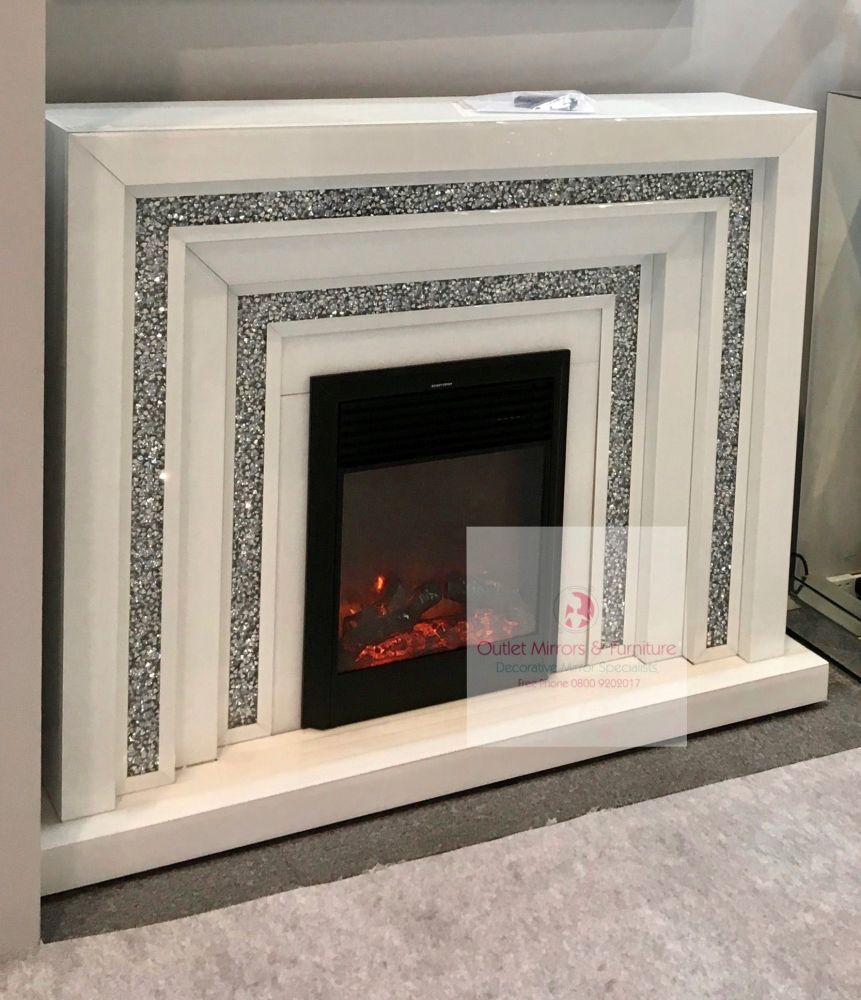 *  Diamond crush sparkle Mirrored Fire Surround with electric fire in white
