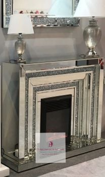 Diamond Crush Sparkle Mirrored Levels fire surround with electric fire in stock - special offer price