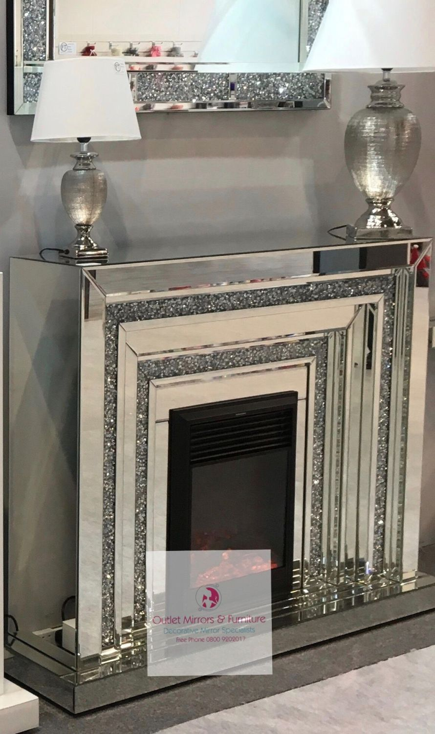 Diamond Crush Sparkle Mirrored Levels fire surround with electric fire in