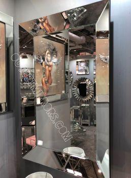 Venetian Tray Silver Bevelled Mirror 120cm  x 80cm