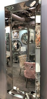 Venetian Tray Silver Bevelled Mirror 150cm  x 60cm in stock