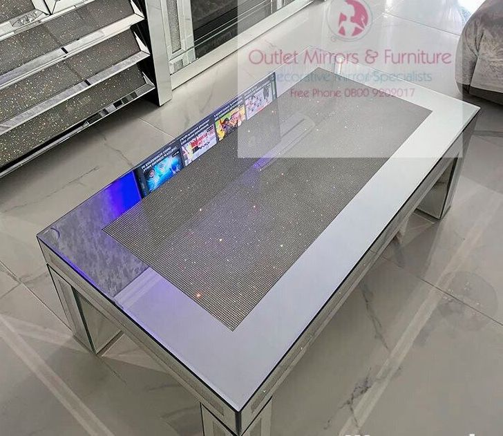 Glamour Sparkle Mirrored Coffee Table with border trim
