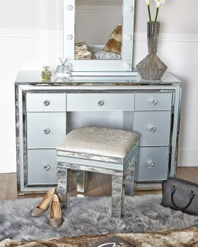 Zeus Mirrored Grey 7 Draw Dressing Table