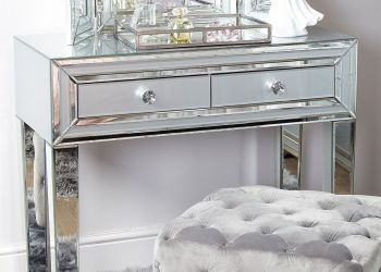 Mirrored Grey 2 Draw Console Table