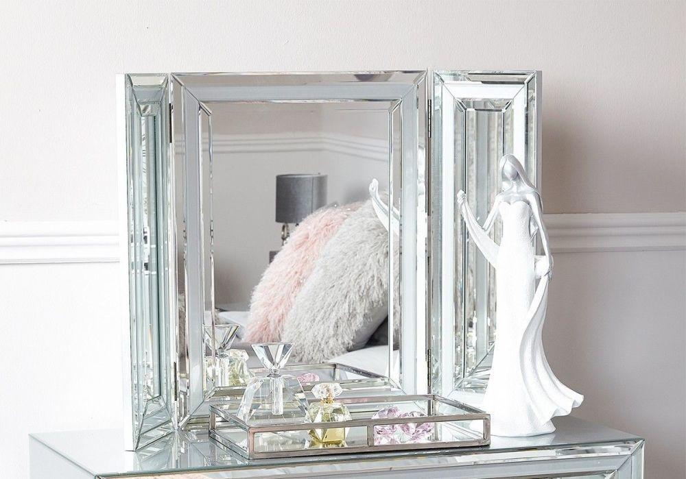 Mirrored Grey Tri fold Mirror