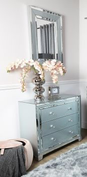 Mirrored Grey 3 Draw Large chest