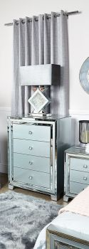 Mirrored Grey 4 Draw Large chest