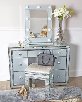 Package Deal Mirrored Grey 7 Draw Drsssing Table Stool and Hollywood Mirror