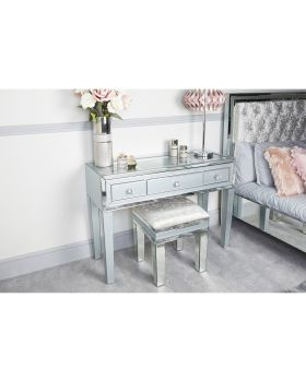 Mirrored Grey 3 Draw Dressing Table with Clear glass Display top