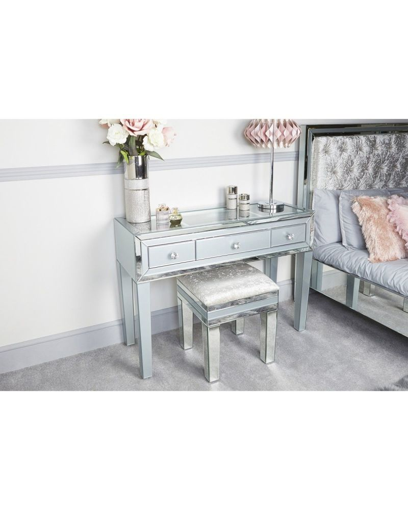 Mirrored Grey 3 Draw Console Table with Clear glass Display top
