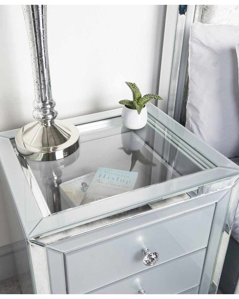 Mirrored Grey 3 Draw chest with Display top in clear glass
