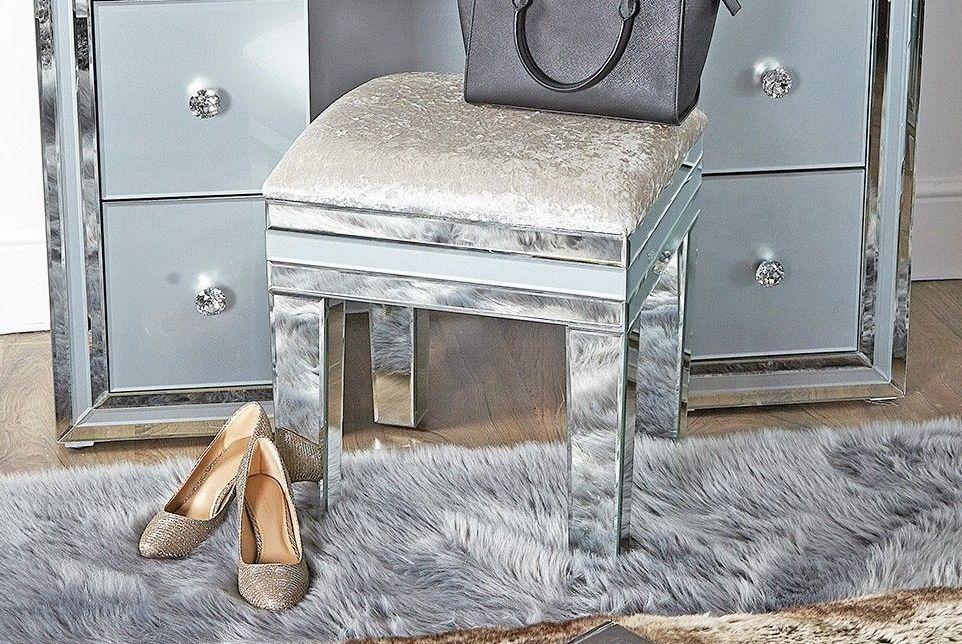 Mirrored Grey Stool (champagne velvet fabric)