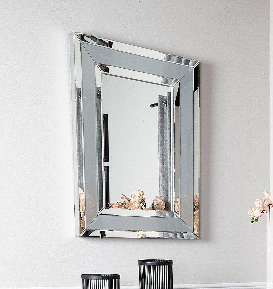 Rectangular Mirrored Grey Wall Mirror 102cm x 76cm