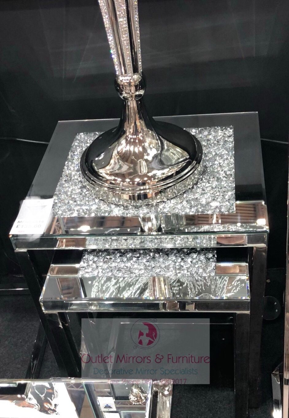 * New Diamond Crush Crystal Sparkle Nesting Tables with Silver Chrome base