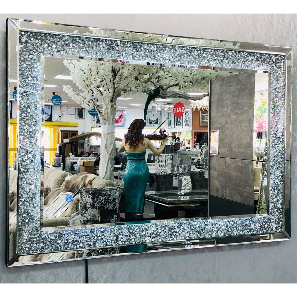 Diamond Crush Sparkle Led Wall Mirror 100cm x 70cm Item in stock