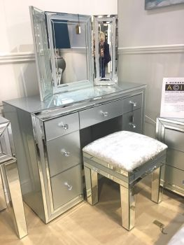 Package Deal  Mirrored Grey 7 Draw Drsssing Table Stool and Tri Fold Mirror