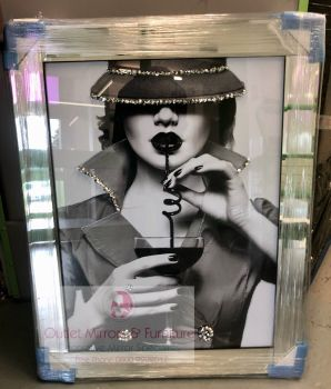 """""""Modern Lady 5 """" Sparkle Wall Art in mirrored frame Frame  in stock for a quick delivery"""