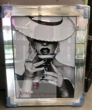 """Modern Lady 8"" Sparkle Wall Art in a Mirror Frame"