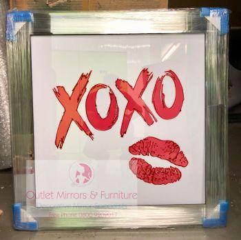 """Mirror framed Sparkle Glitter Art """"xoxo Lips"""""""