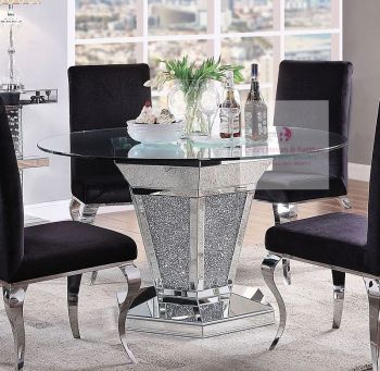 "* Diamond Crush Sparkle Mirrored Dining Table Round ""Marseille"" item in stock for pre xmas delivery"