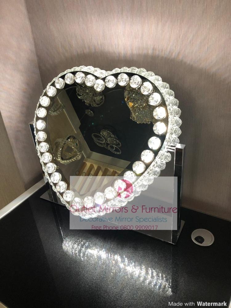 New LED Crystal Heart Shaped Make Up Mirror 62cm x 13cm x 55cm