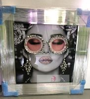 Media Art L'aveugle Par Amour Pink Lips sparkle Sunglasses Mirror Framed sparkle Art 57cm x 57cm