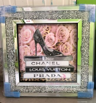 Sparkle Shoe Chanel, louis Vuitton, Dior, Prada Pink Roses Wall Art in a diamond crush frame in stock