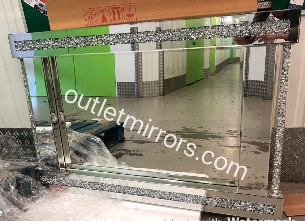 * Diamond Crush Pillar Wall Mirror 120cm x 80cm in stock