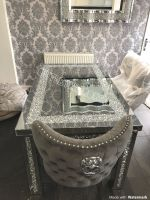 * Diamond Crush Sparkle Mirrored Dining Table 150cm x 90cm with 4 Button Back Lion Knocker Chairs