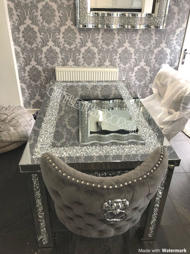 * Diamond Crush Sparkle Mirrored Dining Table 150cm x 90cm with 4 Button Ba