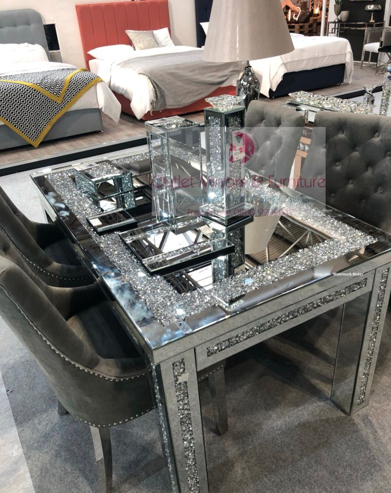 * Diamond Crush Sparkle Mirrored Dining Table 150cm x 90cm with 4 Lion Knoc
