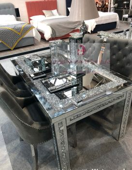 * Diamond Crush Sparkle Mirrored Dining Table 150cm x 90cm with 4 Ring Back Knocker Chairs