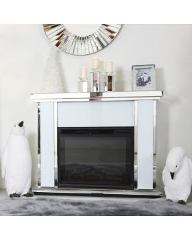 Special offer White & Silver Mirrored Fire Surround  with electric fire