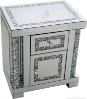 * Diamond Crush Sparkle Pillar Mirrored Bedside Chest