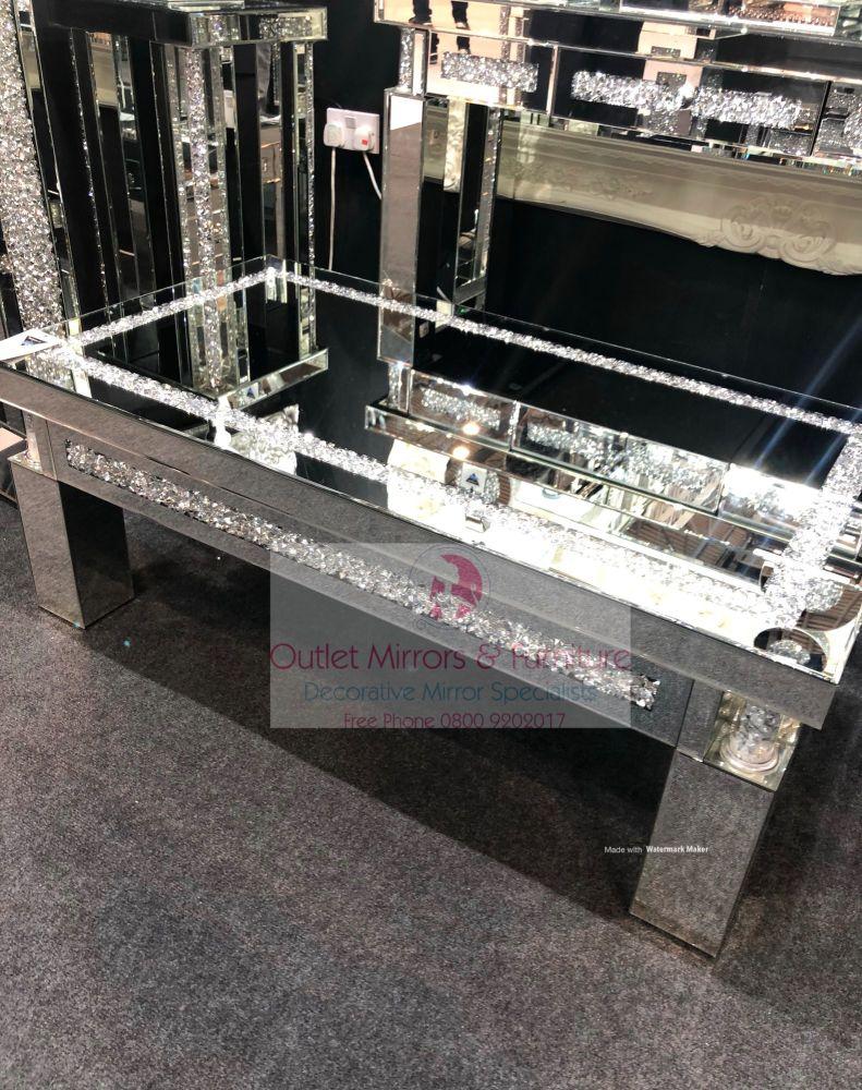 * New Diamond Crush Sparkle Crystal Pillar Mirrored Rectangular Coffee Tabl